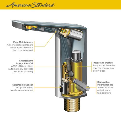 American Standard - Paradigm Selectronic Faucet with Above Deck Mixing - DC Powered - 0.35 GPM  American Standard - Brushed Nickel