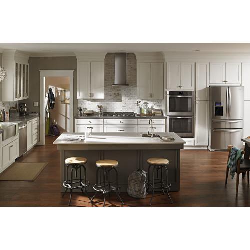 36 inch Glass Island Kitchen Hood with Glass Edge LED Lighting