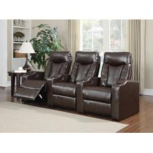 Product Image - Camden Brown Bonded Leather 3-Piece Reclining Theater Set
