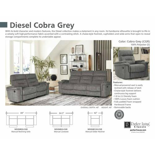 Parker House - DIESEL - COBRA GREY Manual Reclining Collection