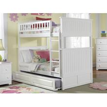 Nantucket Bunk Bed Twin over Twin with Raised Panel Trundle Bed in White