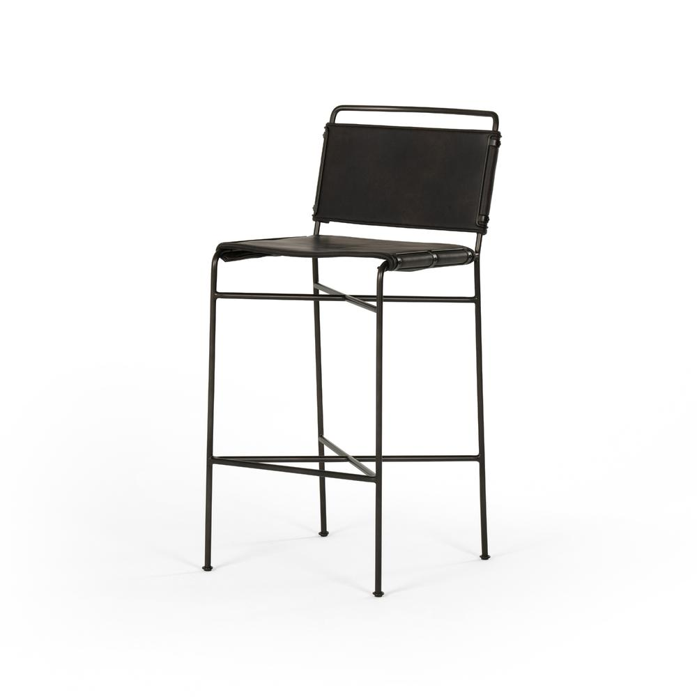 See Details - Bar Stool Size Distressed Black Cover Wharton Bar + Counter Stool