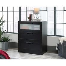 Black 3-Drawer Dresser with Glass Panel