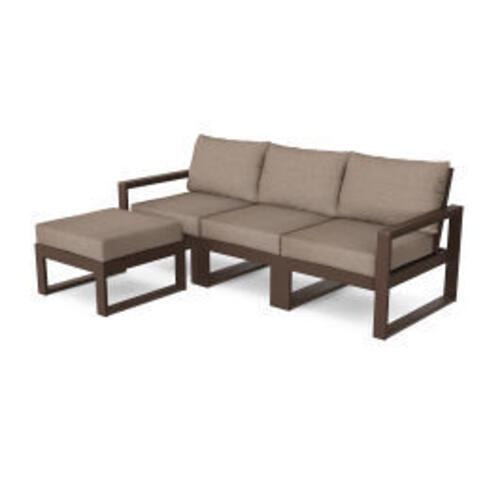 Polywood Furnishings - EDGE 4-Piece Modular Deep Seating Set with Ottoman in Mahogany / Spiced Burlap