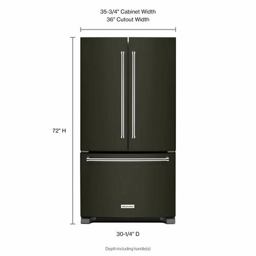 Gallery - 22 cu. ft. 36-Inch Width Counter Depth French Door Refrigerator with Interior Dispense - Black Stainless Steel with PrintShield™ Finish