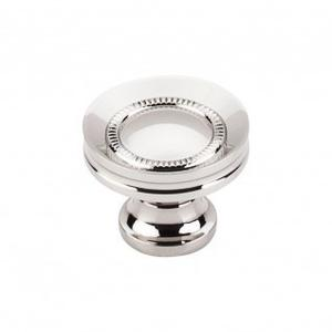 Button Faced Knob 1 1/4 Inch - Polished Nickel