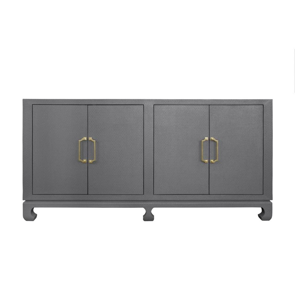 The Sophisticated Silhouette, Natural Texture, and Neutral Finish Ensure the Four Door Drayton Buffet Will Remain A Modern Classic for Generations. Thoughtfully Designed With an Asian Inspired Chow Leg Base, Grey Basketweave Grasscloth, Adjustable and Removable Shelving, and Antique Brass Pagoda Hardware. an Elegant and Timeless Showpiece!