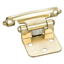 """View Product - Traditional 1/2"""" Overlay Hinge with Screws - Polished Brass"""