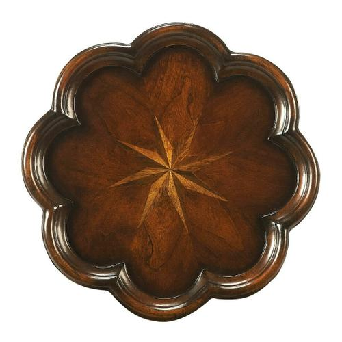 Butler Specialty Company - Made of select solid woods, wood products and choice veneers. Cherry, maple and walnut veneer starburst inlay on top.