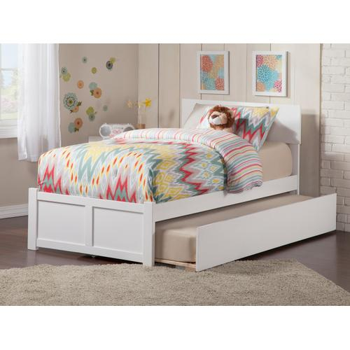 Orlando Twin Flat Panel Foot Board with Urban Trundle White