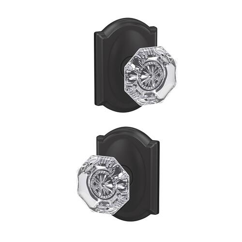 Custom Alexandria Non-Turning Glass Knob with Camelot Trim - Matte Black