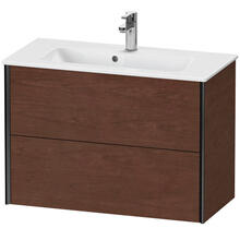 View Product - Vanity Unit Wall-mounted Compact, American Walnut (real Wood Veneer)