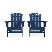 View Product - Wave 2-Piece Adirondack Chair Set with The Crest Chair in Navy