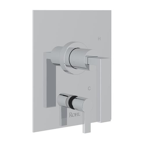 Polished Chrome Wave Pressure Balance Trim With Diverter with Wave Metal Lever
