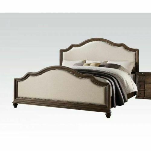 ACME Baudouin California King Bed - 26104CK - Beige Linen & Weathered Oak