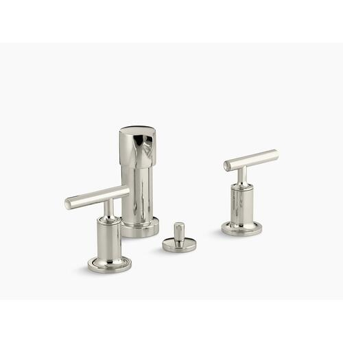 Vibrant Polished Nickel Vertical Spray Bidet Faucet With Lever Handles