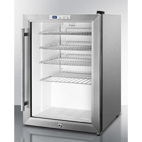 Compact Commercial Beverage Center for Built-in or Freestanding Use, With Glass Door, Stainless Steel Cabinet, and Digital Thermostat