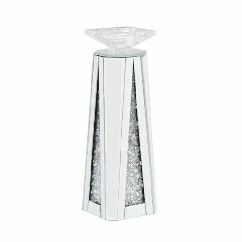 ACME Nowles Accent Candleholder (Set-2) - 97623 - Mirrored & Faux Stones