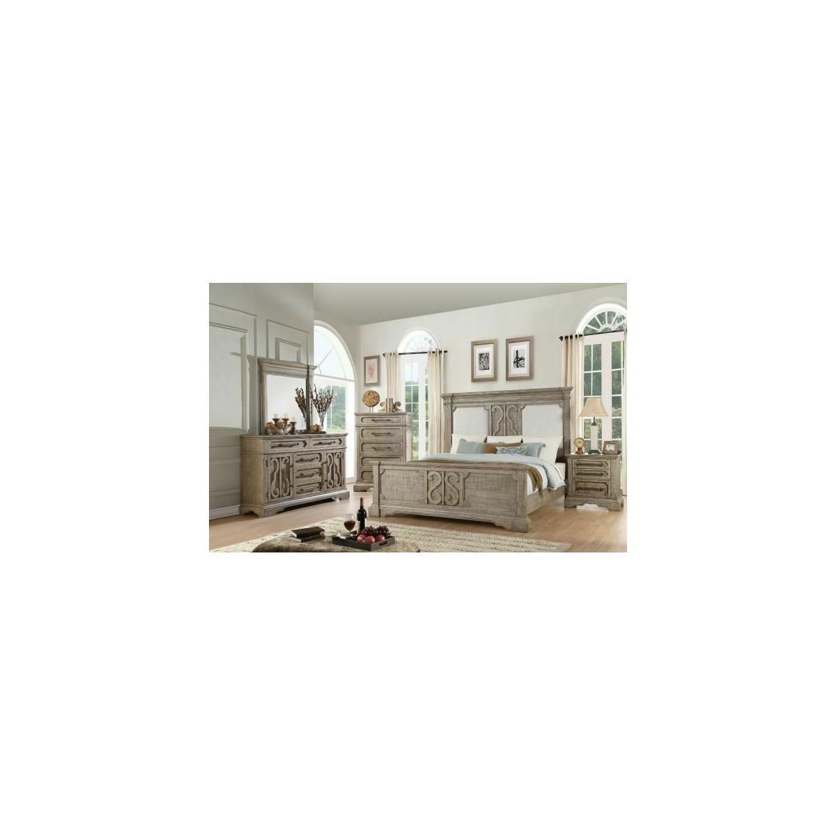 ACME Artesia Queen Bed - 27090Q - Tan Fabric & Salvaged Natural