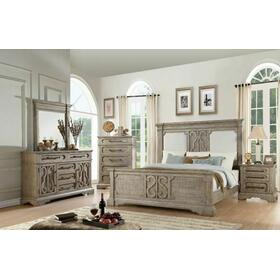 ACME Artesia Queen Bed - 27090Q - Tan Fabric & Salvaged Natural