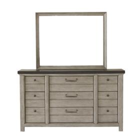 9 Drawer Dresser in Farmhouse Grey