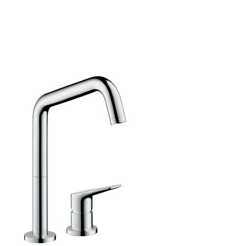 Brushed Black Chrome 2-hole single lever kitchen mixer 240 with swivel spout