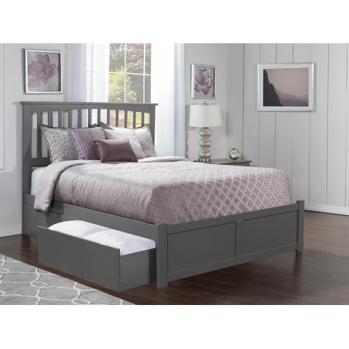 Mission Queen Flat Panel Foot Board with 2 Urban Bed Drawers Atlantic Grey