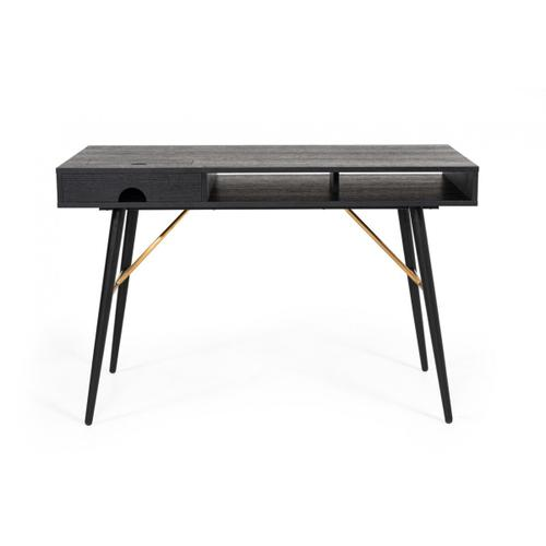 VIG Furniture - Modrest Billy Modern Black Oak & Gold Desk