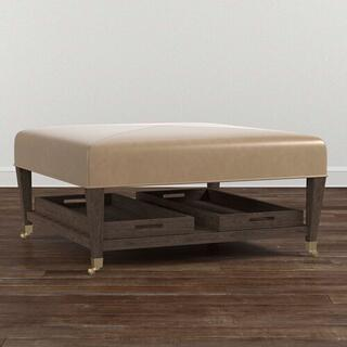 See Details - Kara Leather Ottoman w/Tray