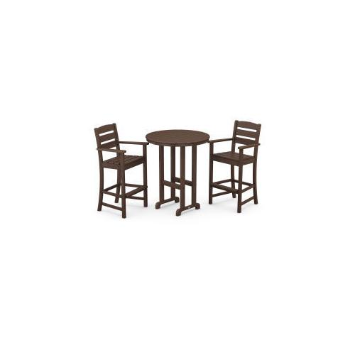 Polywood Furnishings - Lakeside 3-Piece Round Bar Arm Chair Set in Mahogany