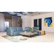 View Product - Accenti Italia Enjoy - Italian Modern Blue Leather Right Facing Sectional Sofa
