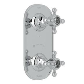 1/2 Inch Thermostatic and Diverter Control Trim - Polished Chrome with Crystal Cross Handle
