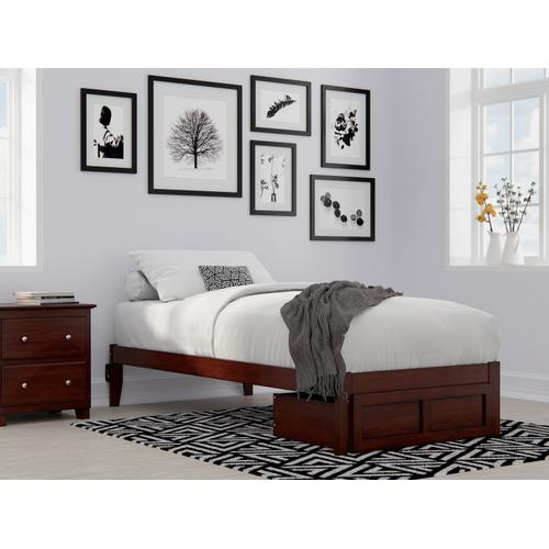 Atlantic Furniture - Colorado Twin Extra Long Bed with Foot Drawer and USB Turbo Charger in Walnut