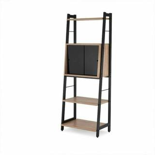 ACME Finis Leaning Bookshelf - 92360 - Light Oak & Black