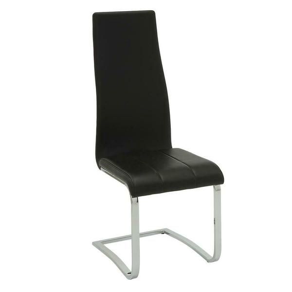 See Details - Contemporary Black and Chrome Dining Chair