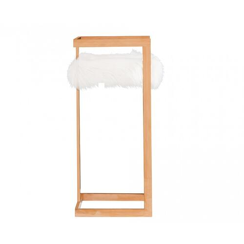 Gallery - Modrest Halifax Modern White Faux Fur & Rosegold Bar Stool