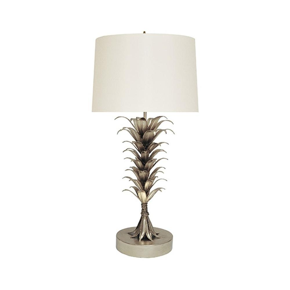 With A Design as Dramatic as Its Namesake Island Landscape, Our Capri Lamp Is A Perfect Complement To Your Luxe Coastal Style. Hand Finished With an Array of Silver Leaf Palm Leaves and Topped With A Crisp White Shade.