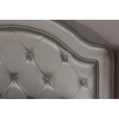 Karley Complete Full-size Headboard Set, Silver Faux Leather