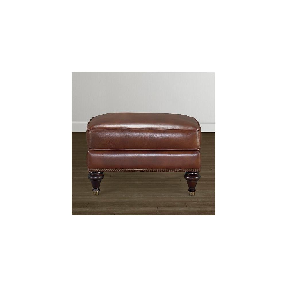 Oxford Leather Ottoman