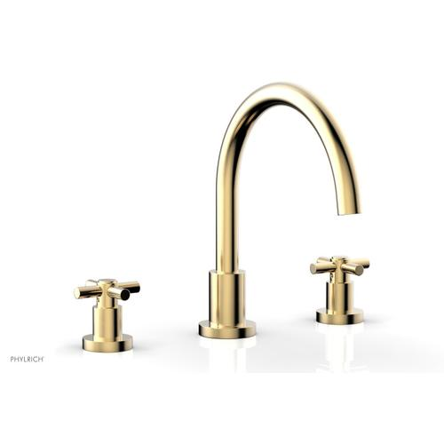 BASIC Deck Tub Set - Tubular Cross Handles D1134C - Satin Brass