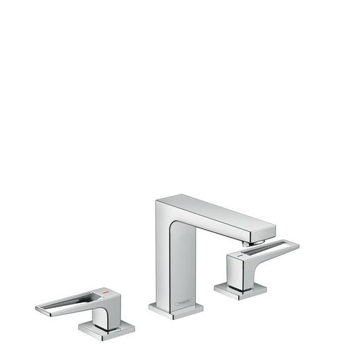 Chrome Widespread Faucet 110 with Loop Handles and Pop-Up Drain, 1.2 GPM