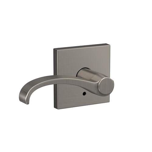 Custom Whitney Lever with Collins Trim Hall-Closet and Bed-Bath Lock - Satin Nickel