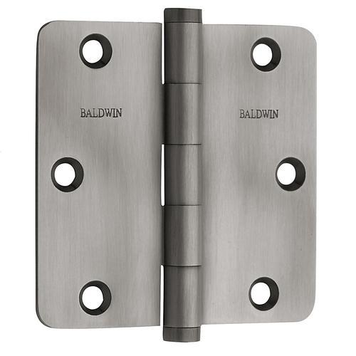 "Baldwin - Antique Nickel 1/4"" Radius Corner Hinge"