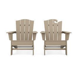 Polywood Furnishings - Wave 2-Piece Adirondack Chair Set with The Crest Chair in Vintage Sahara