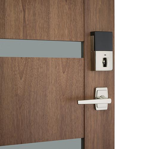 Polished Nickel with Lifetime Finish Evolved Palm Springs Full Escutcheon Handleset