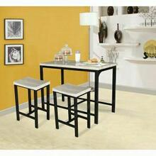 ACME Mira 3Pc Pack Counter Height Set - 71560 - Birch & Black