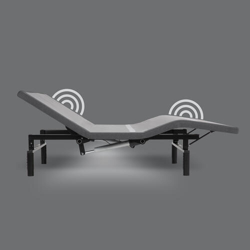Leggett and Platt - Simplicity 3.0 Low-Profile Adjustable Bed Base with Full Body Massage and Simultaneous Movement, Charcoal Gray Finish, Split King