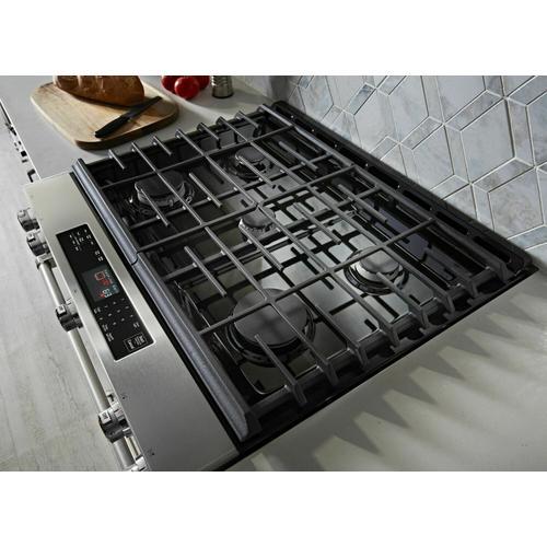 KitchenAid - 30-Inch 5-Burner Gas Slide-In Convection Range - Stainless Steel