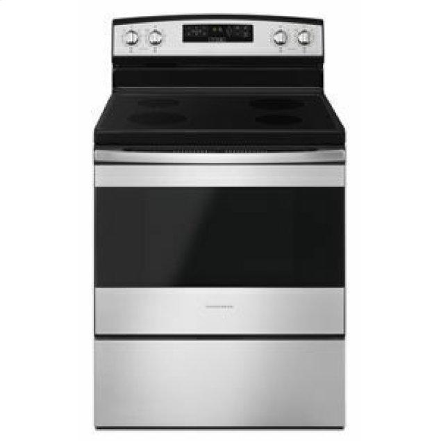Amana 30-inch Electric Range with Extra-Large Oven Window - Black-on-Stainless