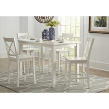 Simplicity Counter Height Table With 4 X Back Stools - Paperwhite